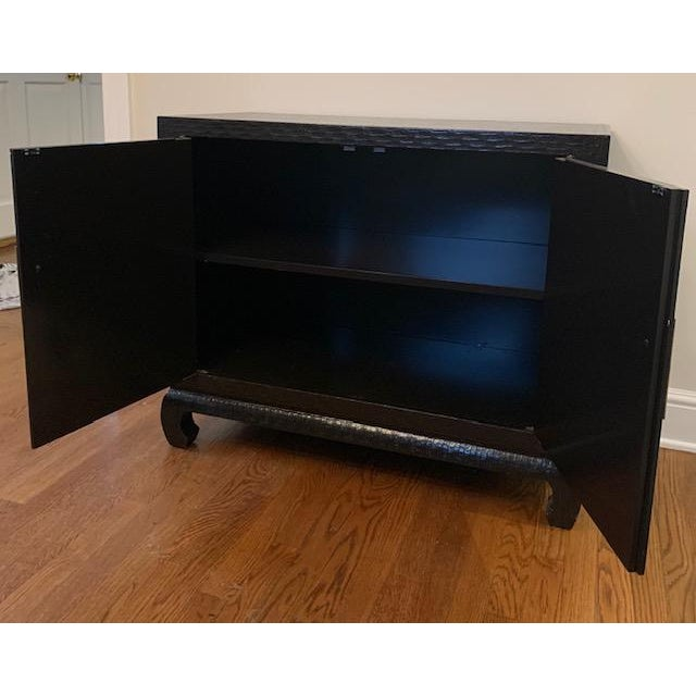 Late 20th Century Baker Grasscloth Black Lacquered Ming Cabinet For Sale - Image 5 of 10