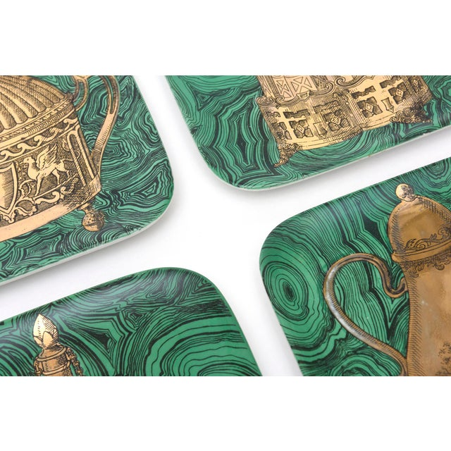 Italian Set of 6 Mid Century Italian Piero Fornasetti Porcelain/Gold Stovigle Plates For Sale - Image 3 of 11