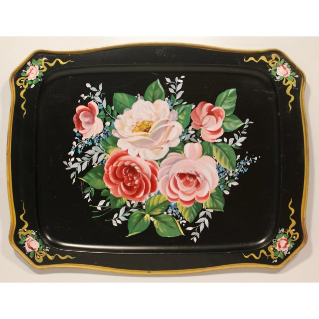 Vintage French Black Tole Tray With Floral Design For Sale - Image 9 of 9