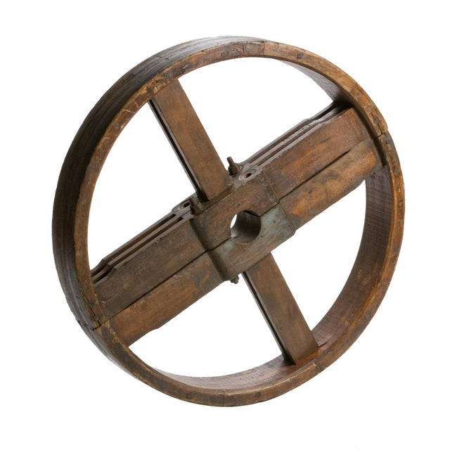 1900 - 1909 1900 French Industrial Wooden Wheel For Sale - Image 5 of 5