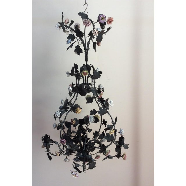 Tole & Porcelain Flower Candle Chandelier - Image 9 of 10