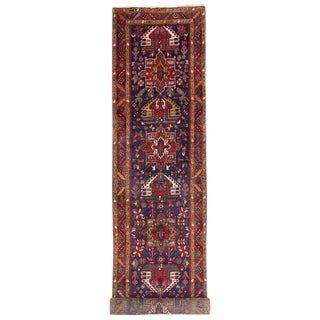 Vintage Persian Heriz Runner with Modern Tribal Style
