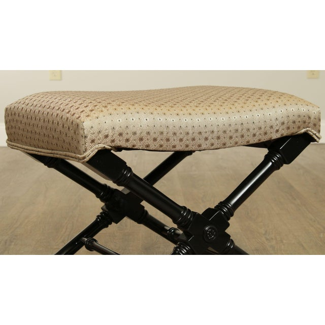 Regency Style Black Lacquered Pair X Benches For Sale - Image 10 of 13