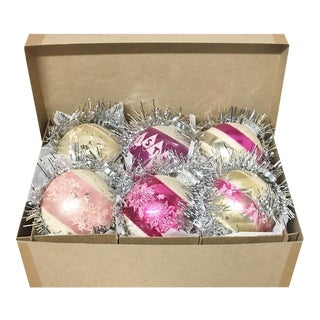 1960's Vintage Shiny Brite Pink Christmas Tree Ornaments - Set of 6 For Sale