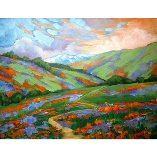 California Hills Poppies & Lupine Landscape Oil Painting Lynne French Art 16x20 For Sale