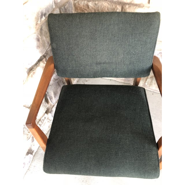 Textile Mid Century Danish Modern Upholstered Arm Chairs - a Pair For Sale - Image 7 of 11