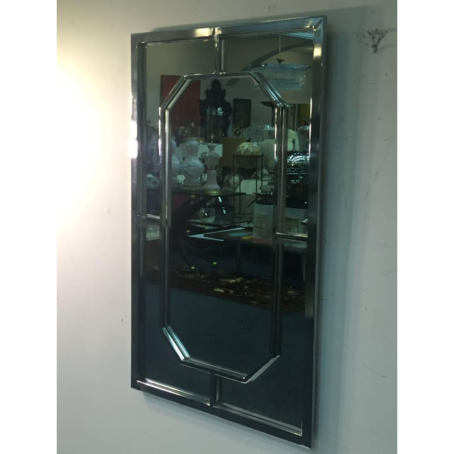 1970s Modern Chrome Rectangular Mirror With Octagonal Center For Sale - Image 5 of 9