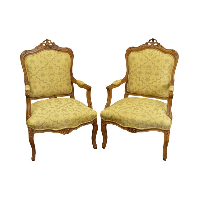 Quality Pair of Custom Upholstered Solid Walnut Louis XV Style Arm Chairs - Image 1 of 10