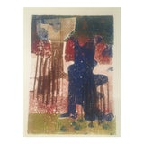 Image of Vintage Mid Century Original Abstract Wood Block Print For Sale