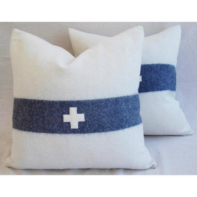 Nautical White & Blue Stripe Wool & Linen Pillows - a Pair - Image 2 of 10