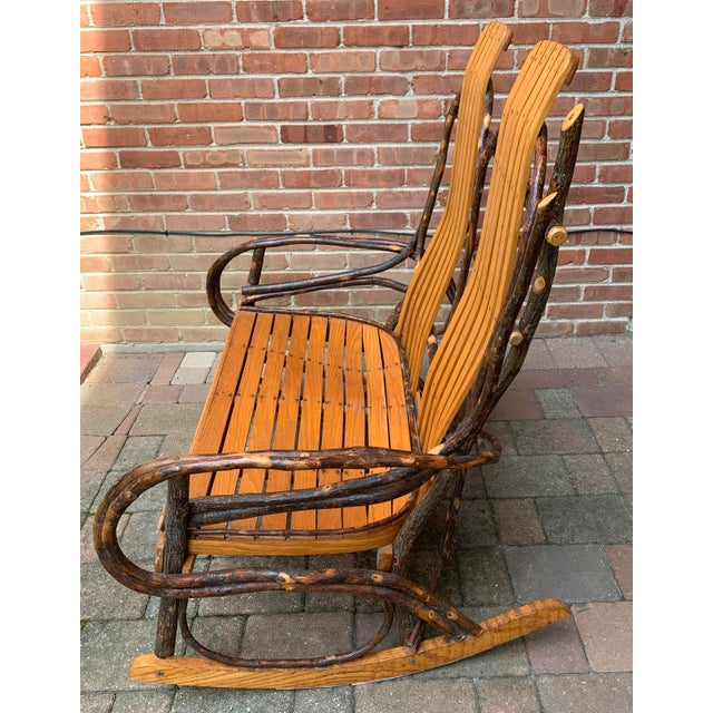 Bentwood and Twig Adirondack Double Vintage Rocking Chair For Sale - Image 4 of 13