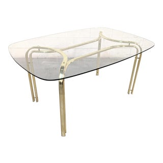 Hollywood Regency Glass & Brass Dining Table For Sale