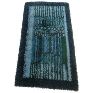 Rya Rug by Ege in Blue and Green Tones For Sale
