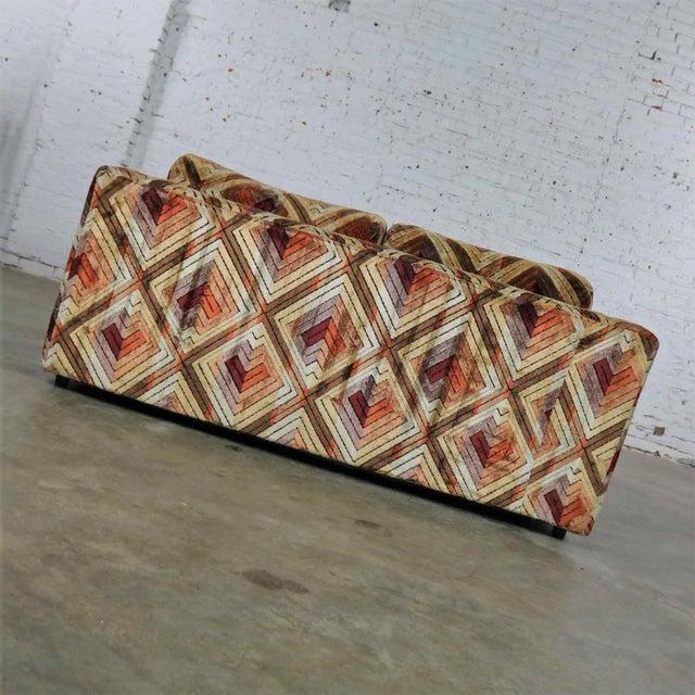 Textile Tuxedo Mod Loveseat Sofa in Jack Lenor Larsen Style Fabric For Sale - Image 7 of 13