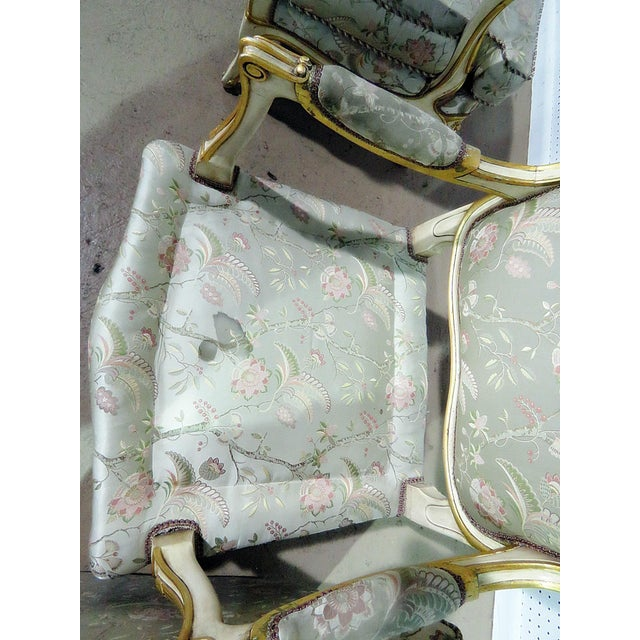 Green Pair of Louis XV Style Fauteuils For Sale - Image 8 of 13