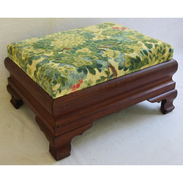 Early Carved 1900s Foot Stool w/ Scalamandre Marly Velvet Fabric - Image 8 of 11