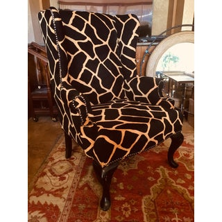 Wingback Chair With Stylistic Giraffe Upholstery Preview