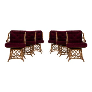 Swivel Rattan Dining Chairs- Set of 6 For Sale