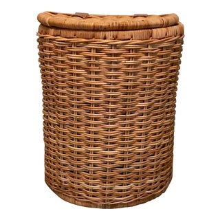 Vintage Lidded Wicker Basket For Sale