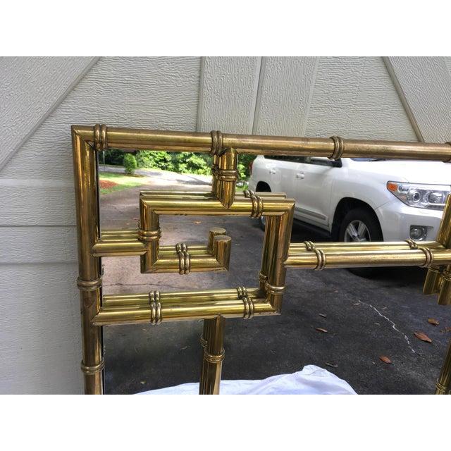 1970s Mastercraft Brass Faux Bamboo Mirror W/Greek Key For Sale - Image 5 of 10