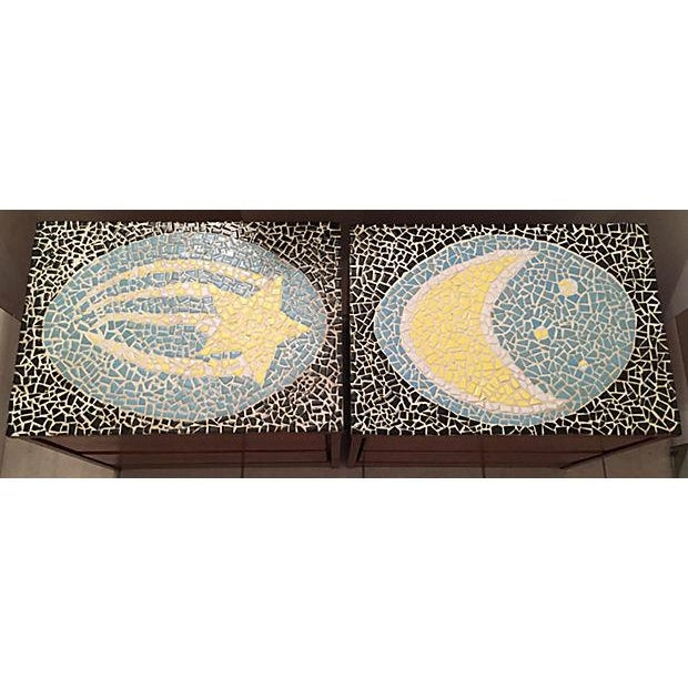 1970's Mosaic Top Nightstands - A Pair - Image 4 of 10