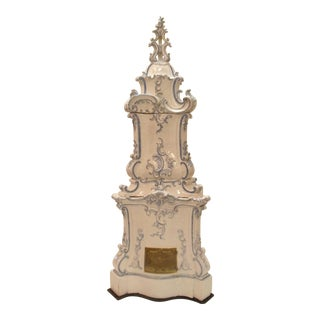 Italian Ceramic Delft Terracotta Parlor Stove For Sale
