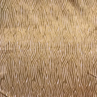 """Contemporary Clarke and Clarke Luxurious Faux Bois """"Onda"""" Velvet Gold Fabric For Sale"""