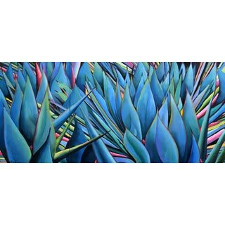 Agave Wall Painting (Diptych in 2 Sections/Ready to Hang) For Sale