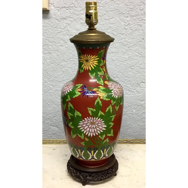 Urn Shaped Cloisonne Table Lamp For Sale - Image 9 of 10