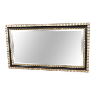 Black and Gold Framed Wall Mirror For Sale