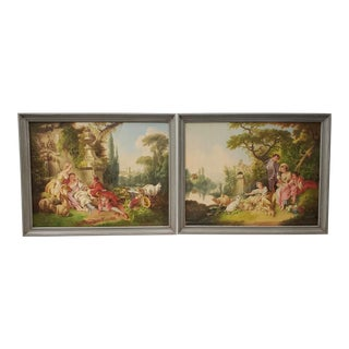 Pair of Early 20th Century Oil Painting of Lovers in a Classical Setting For Sale