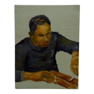 "1949 Mid-Century Modern Original Painting on Paper, ""Black Male Working"" by Tom Sturges Jr"