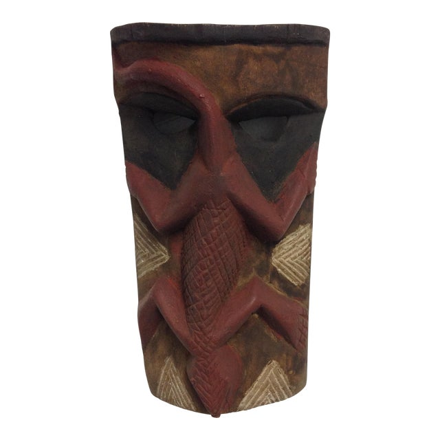 Hand Carved Wooden Mask With Lizard Design - Image 1 of 9