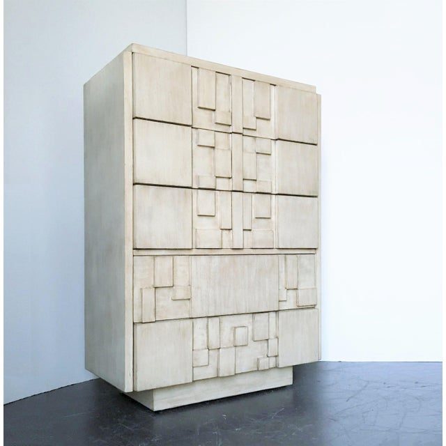"""Inspired by Paul Evans this Brutalist / Cubist tallboy chest dresser, """"Staccato"""" collection produced by The Lane Furniture..."""