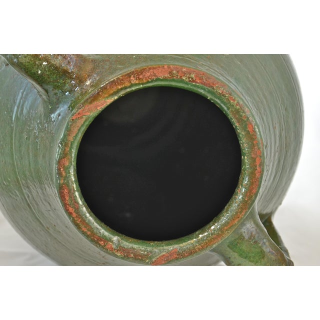 Green Turkish Oversize Dark Green Glazed Urn For Sale - Image 8 of 9