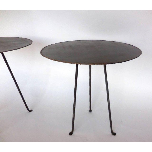 Industrial Hand-Forged Iron and Bronze Tripod Table For Sale - Image 3 of 7