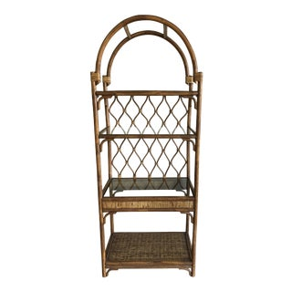 1970s Boho Chic Rattan and Wicker Tall Etagere Shelf For Sale