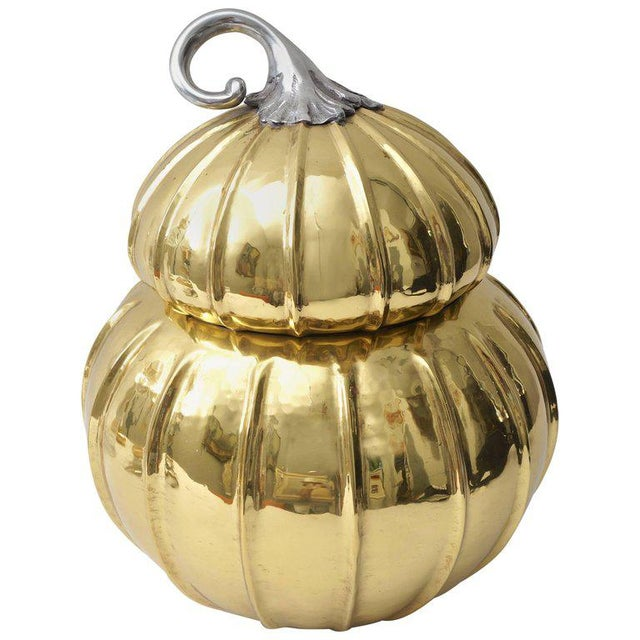Brass Melon-Form Brass and Silver Plate Ice Bucket For Sale - Image 8 of 8