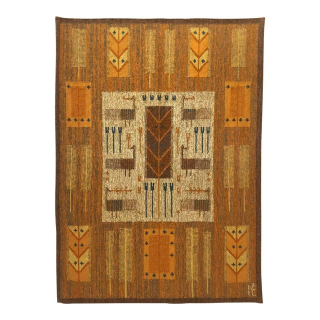 1960s Wall Hung Tapestry - 3′6″ × 4′11″ For Sale - Image 9 of 9