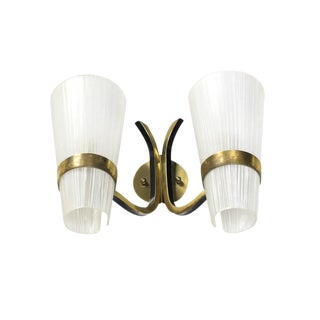 Brass Italian Mid-Century Modern Sconce Striped Satin Glass Cone Shades For Sale