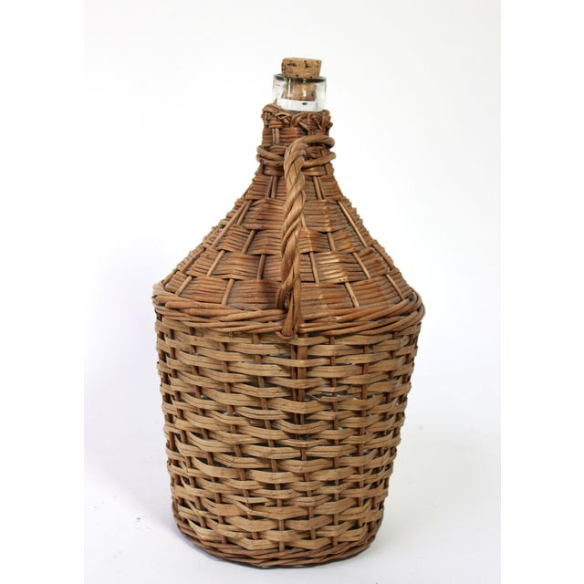 French Provincial Antique Wicker Covered & Handled Wine Jug With Cork For Sale - Image 3 of 6