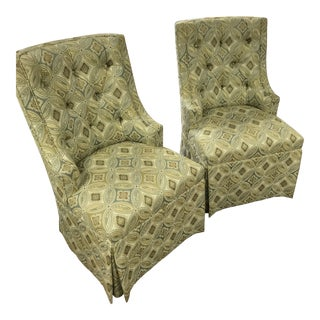Custom Kravet Fabric Upholstered Parsons Chairs - a Pair