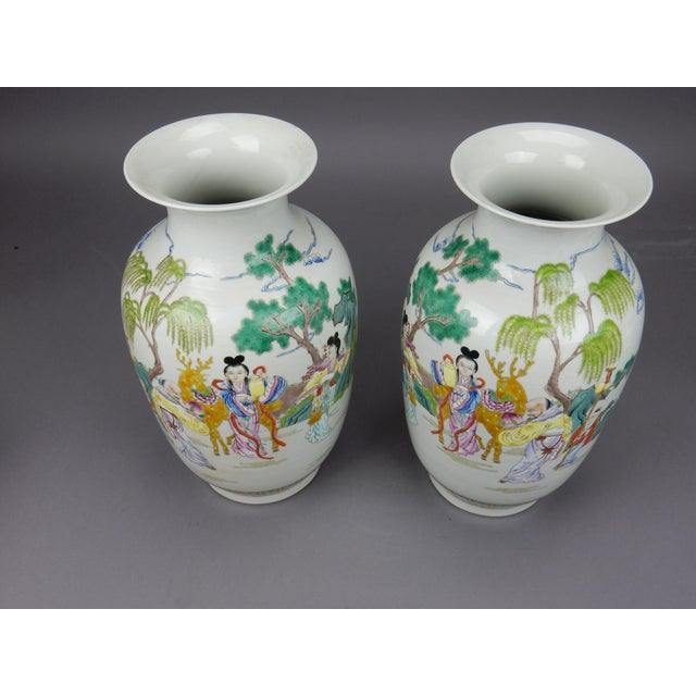 Blue Gorgeous Pair of Chinese Famille Rose Mirror Imaged Immortal Vases For Sale - Image 8 of 13