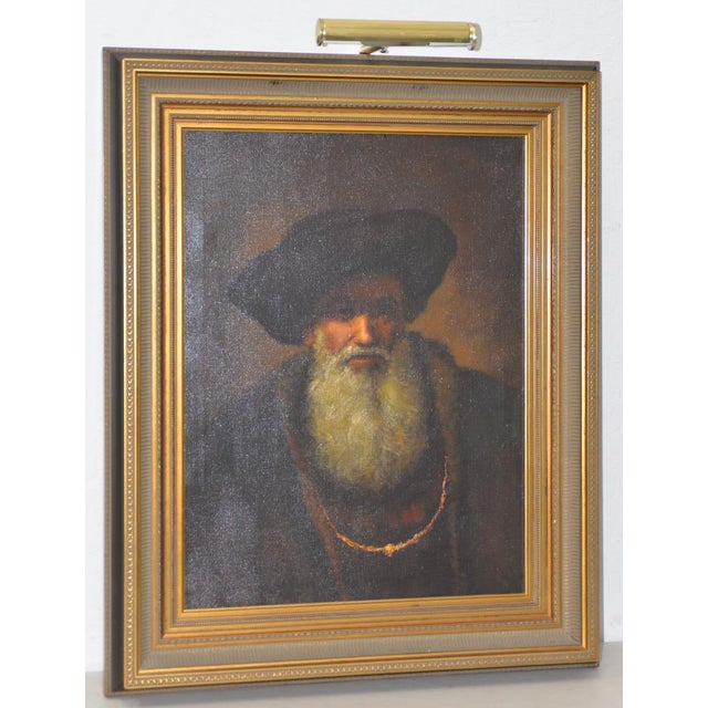 Mid 20th Century Oil Portrait of a Bearded Man After Rembrandt For Sale - Image 9 of 9