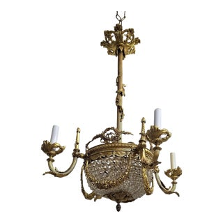 1910s Circa 1910 French Empire Style Gilt Bronze and Crystal Beaded 4 Light Chandelier For Sale