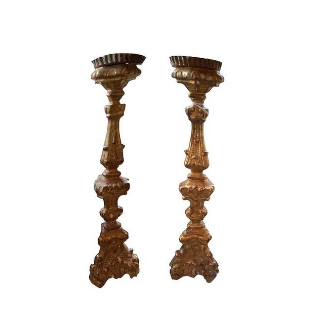 Mid 19th Century Antique Gilt Candlesticks - a Pair For Sale - Image 5 of 5
