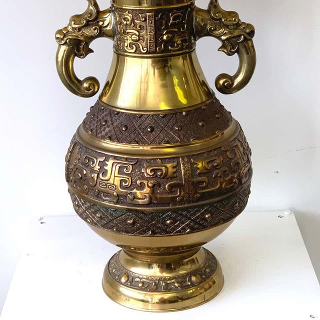 Mid 20th Century Chinese Brass Archaic Lamp, by Marbro Lamp Co. For Sale - Image 5 of 12