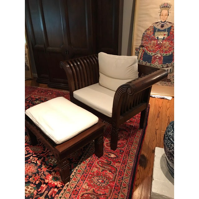 Hand-Carved Mahogany Wood Chair & Ottoman - A Pair - Image 3 of 10
