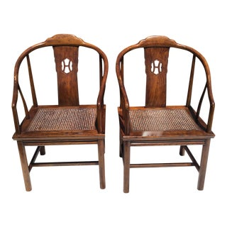 Henredon Asian Elm Cane Chairs - a Pair