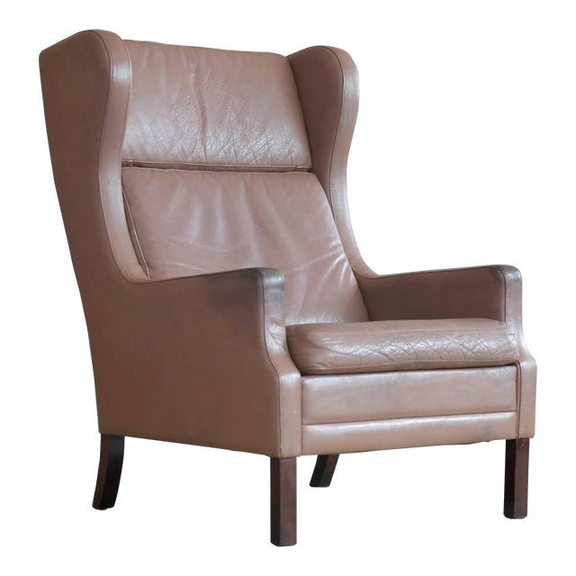 Georg Thams Wingback Chair in Cappuccino Colored Leather Borge Mogensen Style For Sale